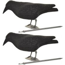 2 x Nitehawk Full Body Flocked Shooting/Hunting Crow Decoy With Feet And Stake