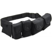 Nitehawk Police/Security Belt with Pouches - BLACK