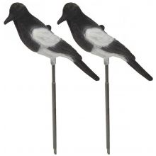 Nitehawk 2 X Full Body Flocked Shooting/Hunting Magpie Decoy With Stake