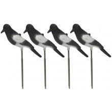 Nitehawk 4 X Full Body Flocked Shooting/Hunting Magpie Decoy With Stake