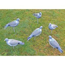 6 x Nitehawk Hunting Shooting Painted Full Body Fake Bird Pigeon Decoy Shell
