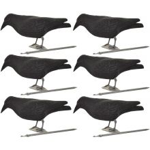 6 x Nitehawk Full Body Flocked Shooting/Hunting Crow Decoy With Feet And Stake