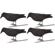 4 x Nitehawk Full Body Flocked Shooting/Hunting Crow Decoy With Feet And Stake